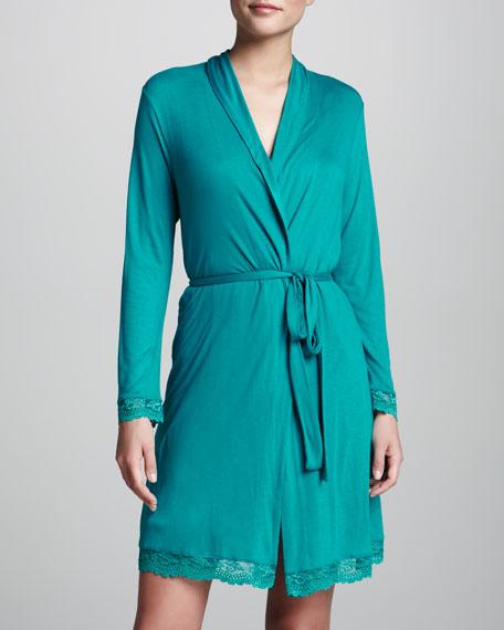 Colette Lace-Trim Jersey Robe