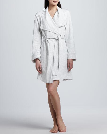 Long-Sleeve Terry Cloth Wrap Robe, Heather Gray