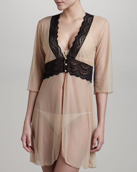Elise Sheer Lace-Trim Robe