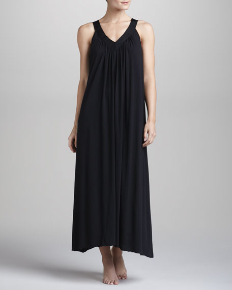 Pima Cotton Long Nightgown, Black