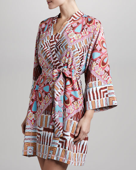 Medallion-Print Short Robe