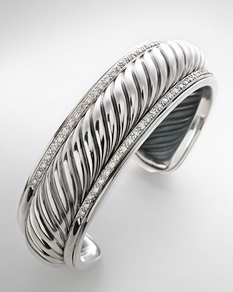 Narrow Carved Cable Pave Cuff
