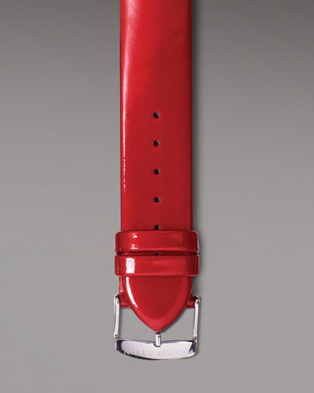 Red Patent Leather Strap, 18mm
