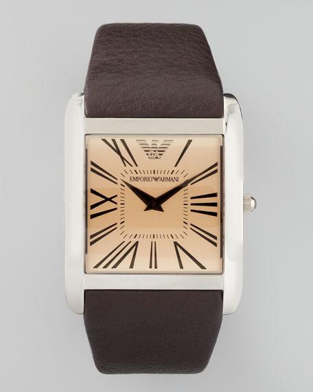 Super Slim Stainless Steel Watch, Brown