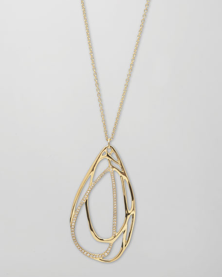 Drizzle 18k Gold Pave Diamond Teardrop Necklace