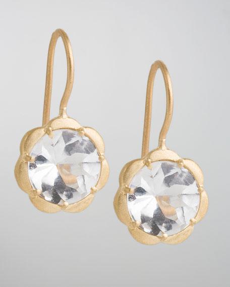 Scalloped White Topaz Drop Earrings