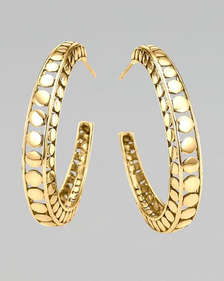 Gold Dot Medium Hoop Earrings