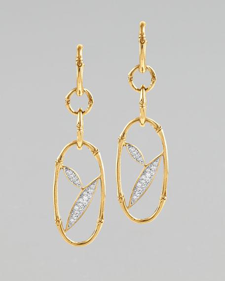 Pave Diamond Bamboo Hoop Earrings