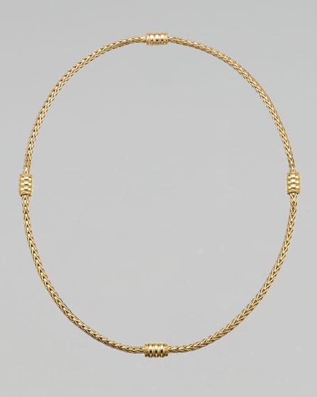 "Gold Bedeg Station Necklace, 18""L"