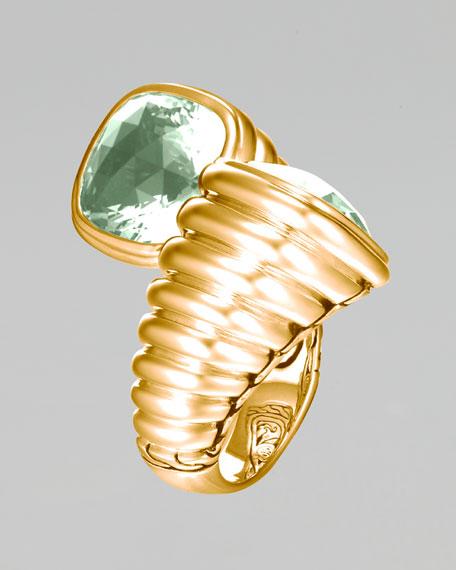 Gold Bedeg Green Amethyst Bypass Ring