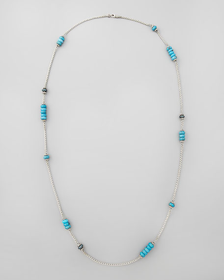 "Bedeg Turquoise Station Necklace, 32""L"