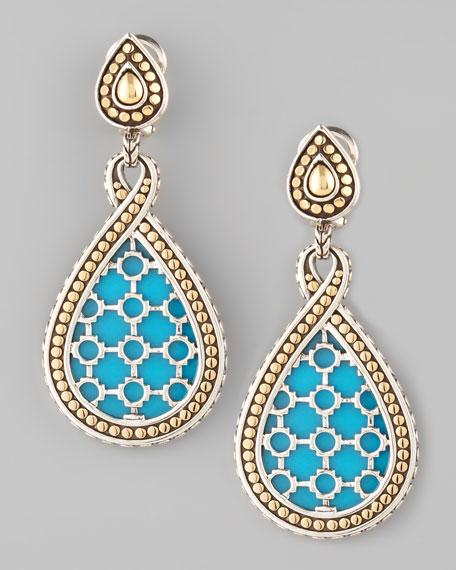 Dot Turquoise Teardrop Earrings