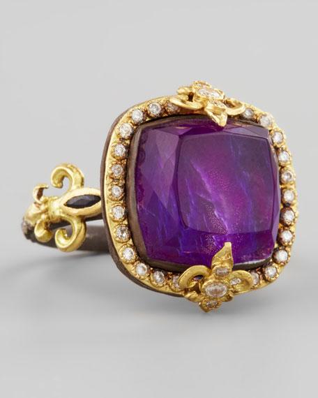 18k Gold Fleur de Lis Sugilite Ring