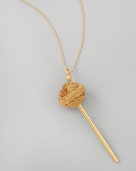 Yellow Gold Crystal-Encrusted Lollipop Necklace, Citrine