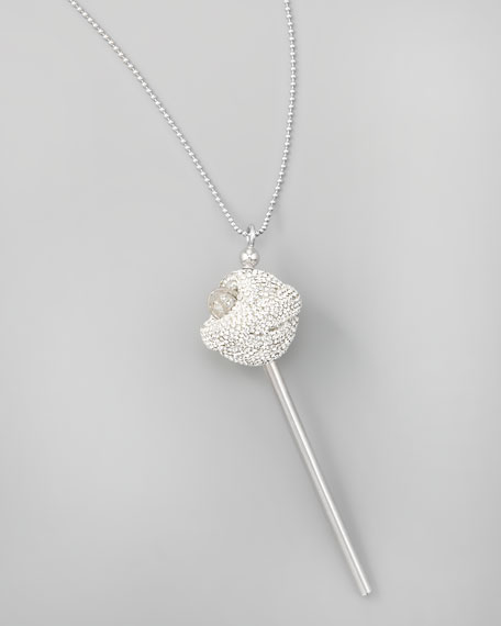 Silver Crystal-Encrusted Lollipop Necklace, White