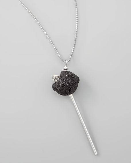 Silver Crystal-Encrusted Lollipop Necklace, Black