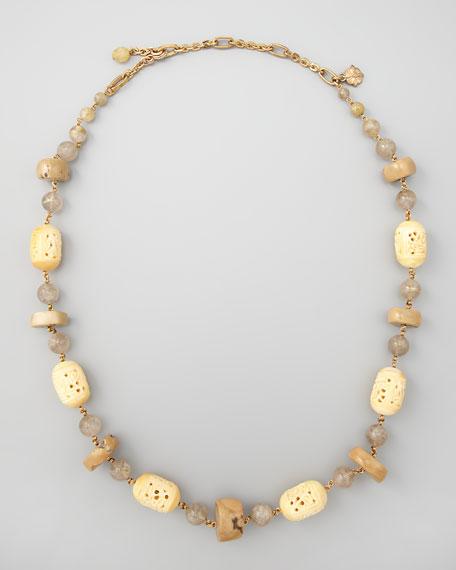 Carved Bone Novelty Necklace, Beige