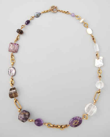 Asymmetric Multi-Stone Necklace, Purple