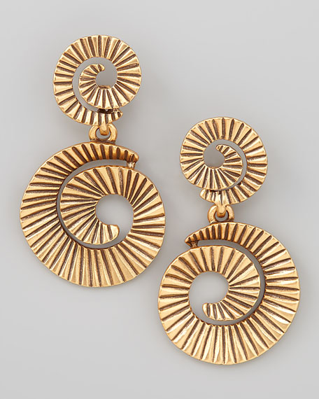 Gold-Plate Spiral Earrings