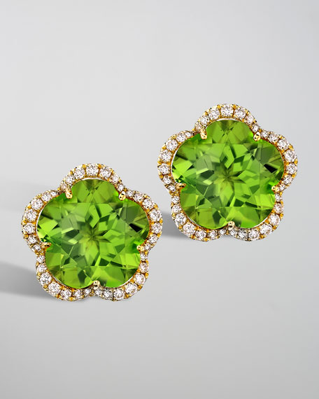 Grace Peridot & Diamond 18k Gold Flower Earrings