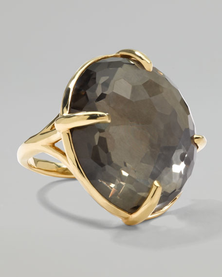 Rock Candy 18k Gold Gelato Round Ring, Pyrite