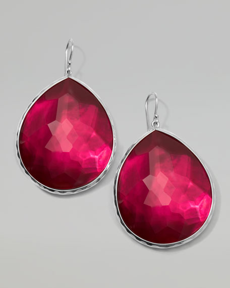 Wonderland Silver Jumbo Teardrop Earrings, Raspberry