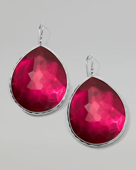 Wonderland Silver Jumbo Teardrop Earrings, Raspberry