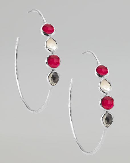 Wonderland Silver Multi-Stone #4 Hoop Earrings, Vino