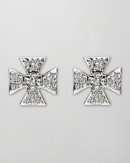 White Sapphire Maltese Cross Stud Earrings