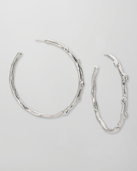 Large Silver Twig Hoop Earrings, 2""