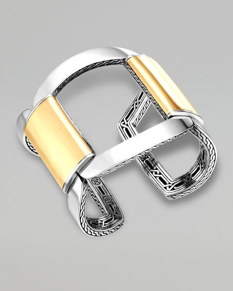 Classic Chain Wide Gold & Silver Link Cuff