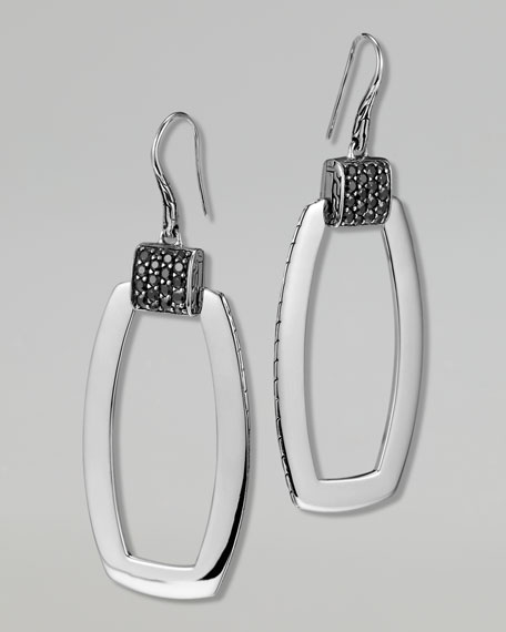 Classic Chain Silver Lava Black Sapphire Earrings