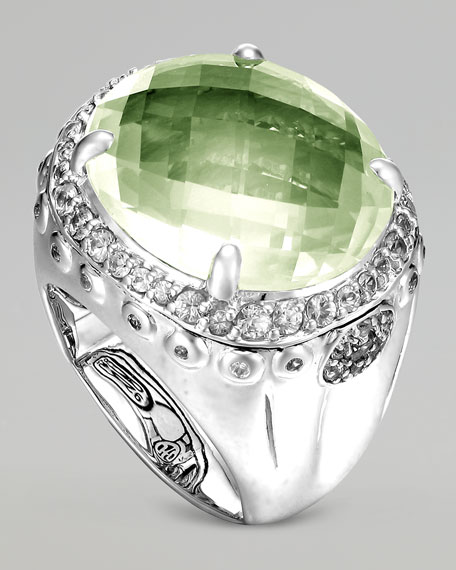 Bamboo Batu Silver Green Amethyst Dome Ring