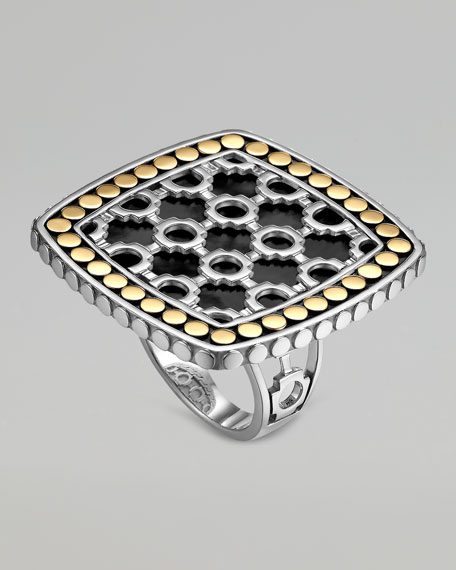 Dot Morocco Gold & Silver Black Onyx Square Ring