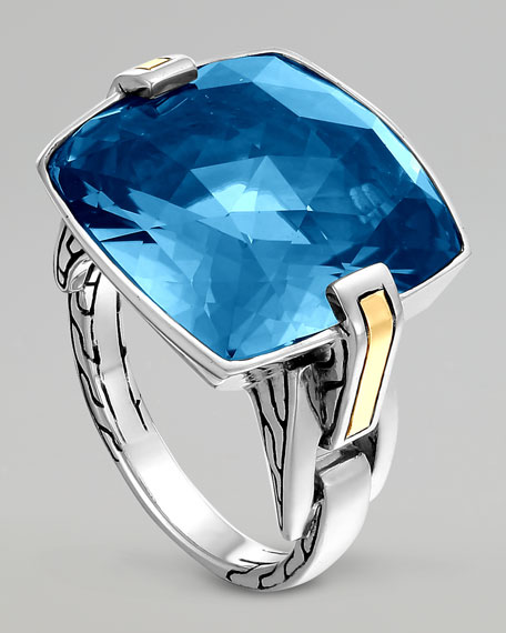 Classic Chain Silver London Blue Topaz Ring