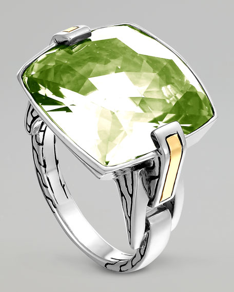 Classic Chain Silver Green Amethyst Ring
