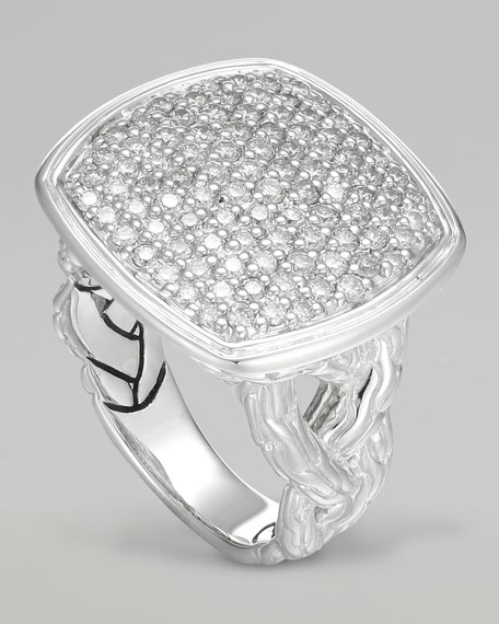 Classic Chain Small Pave Diamond Cushion Woven Ring
