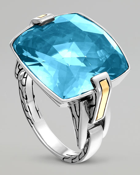 Classic Chain Silver Sky Blue Topaz Ring