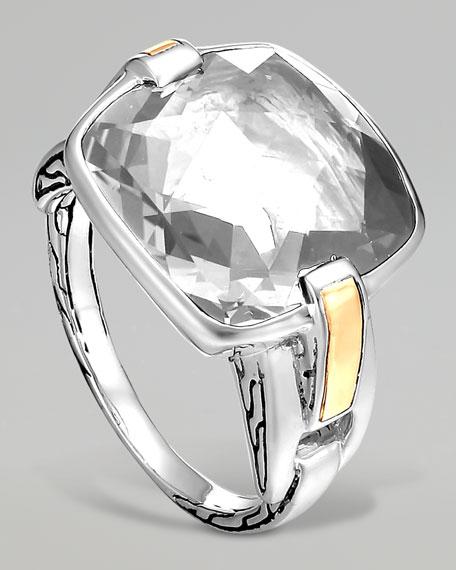Classic Chain Silver White Topaz Ring
