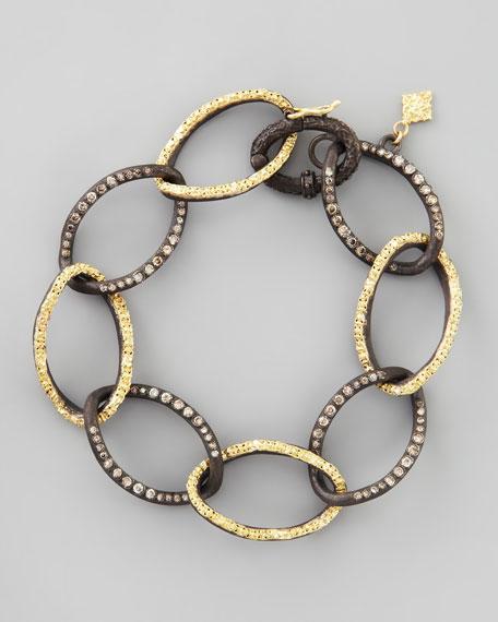 Midnight & 18k Gold Twisted Diamond Link Bracelet