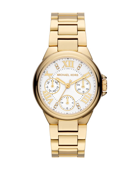 Mini Golden Stainless Steel Camille Chronograph Glitz Watch