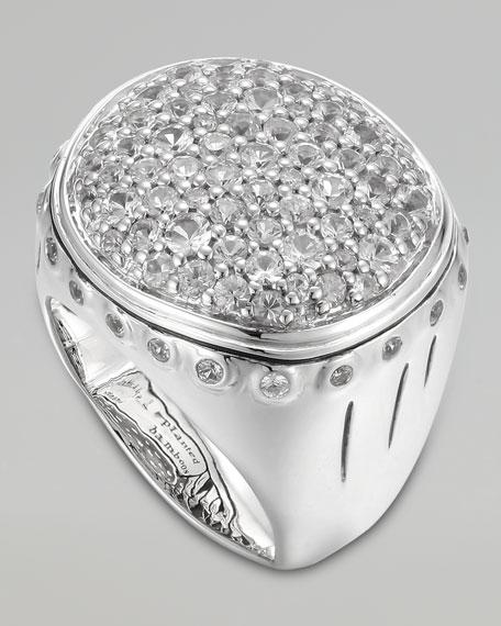 Bamboo Silver White Sapphire Lava Dome Ring, Size 7
