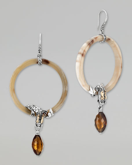 Batu Naga Gold & Silver Horn Cognac Quartz Drop Earrings