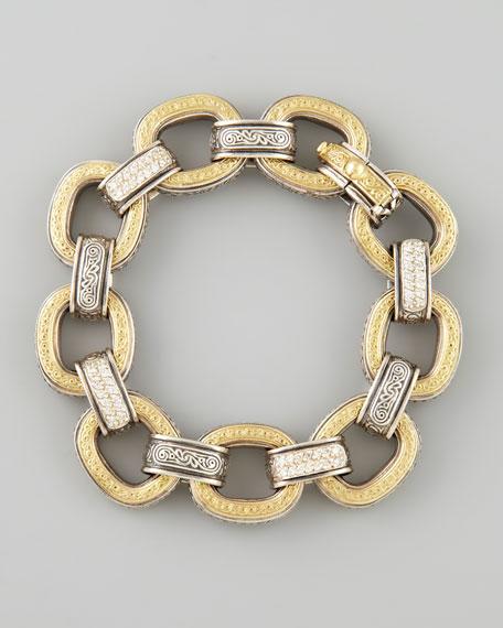 Classic Diamond Pave 18k Gold & Silver Link Bracelet