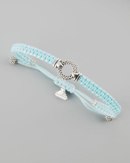 Sterling Silver Caviar Macrame Bracelet, Aqua