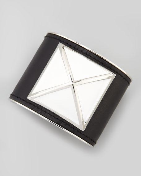 Large Enamel Stud Leather Cuff, Black/White