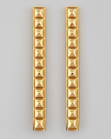Golden Studded ID Bar Earrings
