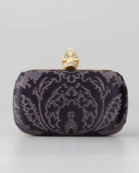 Baroque Skull-Clasp Clutch Bag