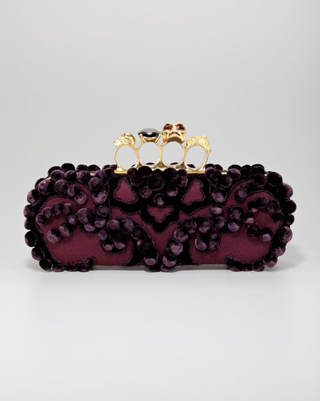 Long Pom-Pom Knuckle-Duster Clutch Bag