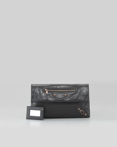 Giant 12 Rose Golden Envelope Clutch Bag, Black
